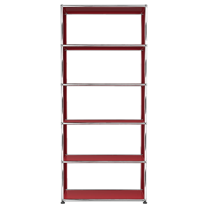 USM Haller - Shelf S with 5 Compartments, USM Ruby Red