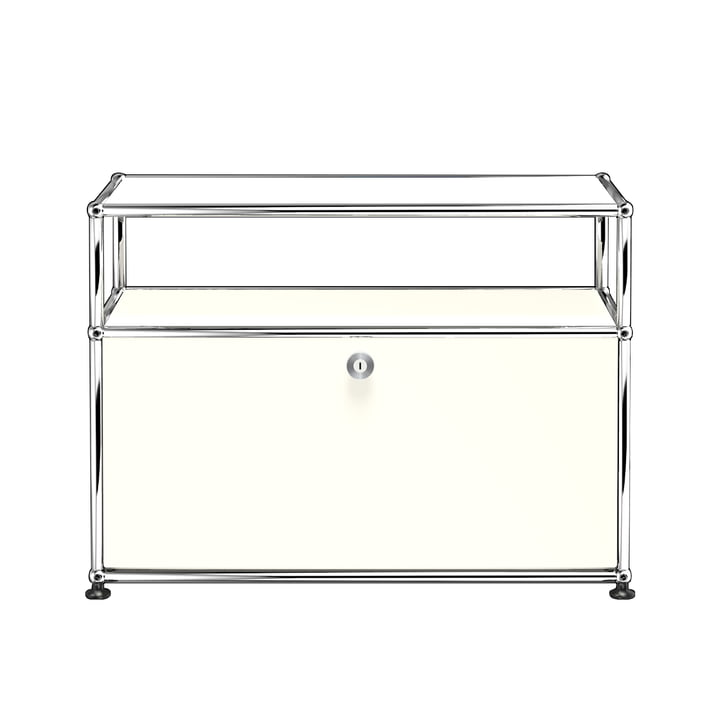 The USM Haller - TV / Hi Fi Stand S with Drop-Down Door and Shelves, Pure White (RAL 9010)