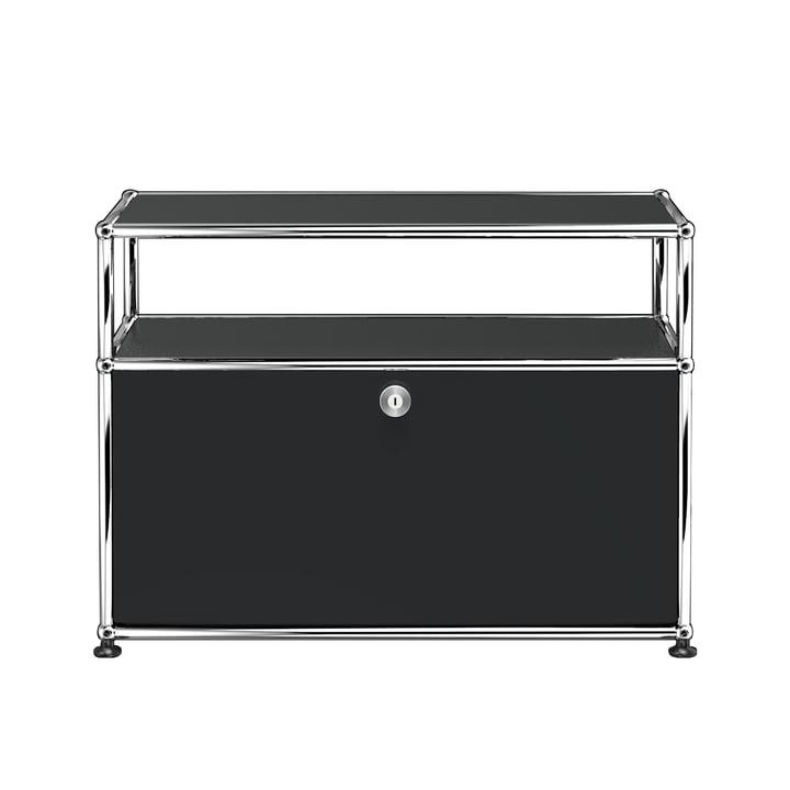 USM Haller - TV / Hi Fi Stand S with Drop-Down Door and Shelves, Graphite Black (RAL 9011)