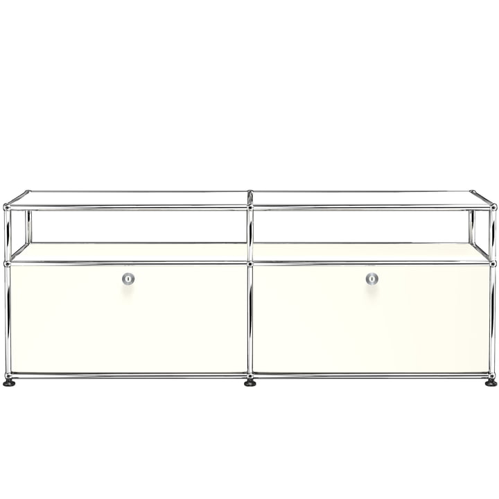 USM Haller - Low TV/Hi-Fi Stand M with Two Drop-Down Doors and Shelves, pure white (RAL 9010)