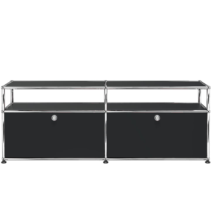 USM Haller - Low TV/Hi Fi Stand M with Two Drop-Down Doors and Shelves, Graphite Black (RAL 9011)