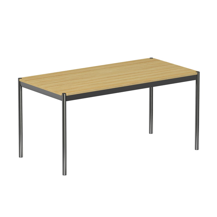 USM Haller - Table 150 x 75 cm, chromed steel frame / veneered oak tabletop, natural finish