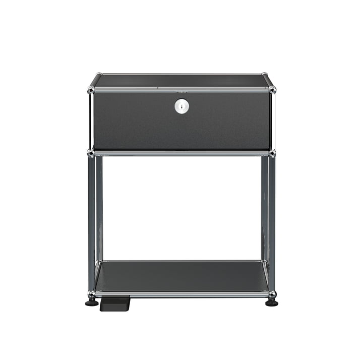 The USM Haller E - Bedside Table with Drop-Down Door and Dimmable Light, graphite black (RAL 9011)
