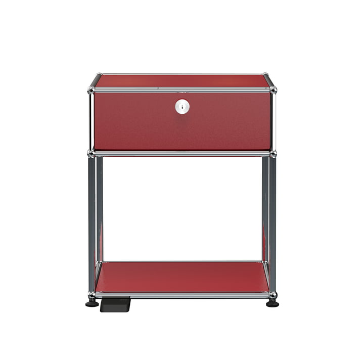 The USM Haller - Bedside Table with Drop-Down Door and Dimmable Light, USM ruby red