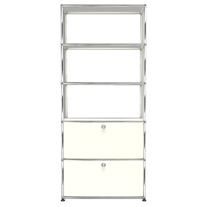 The USM Haller - Shelf S with Two Drop-Down Doors, Pure White (RAL 9010)