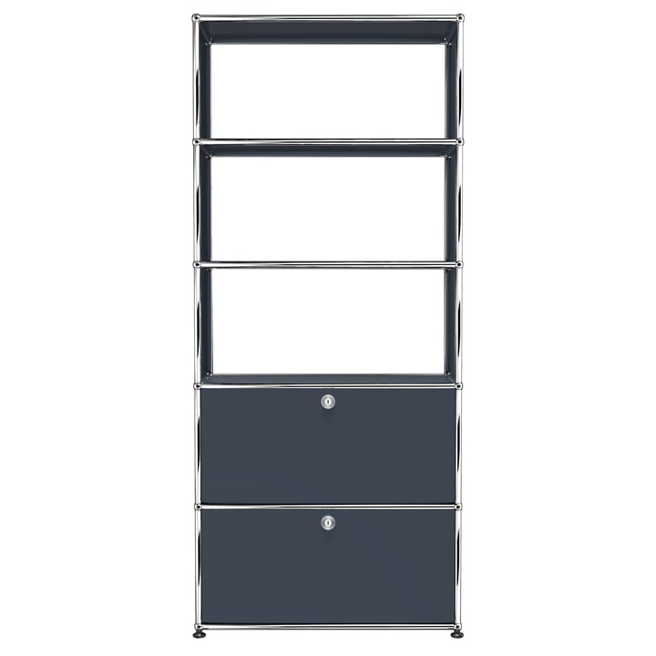 USM Haller - Shelf S with Two Drop-Down Doors, Anthracite Grey (RAL 7016)