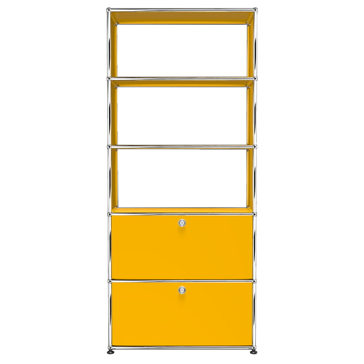 USM Haller - Shelf S with Two Drop-Down Doors, Gold Yellow (RAL 1004)
