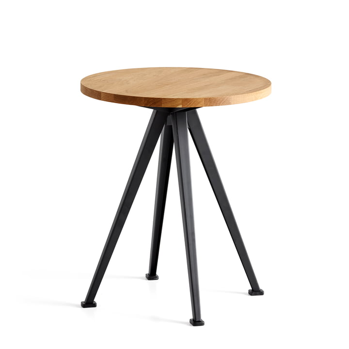 Hay - Pyramid Coffee Table 51, Ø 45.5 cm, matt lacquered oak / black
