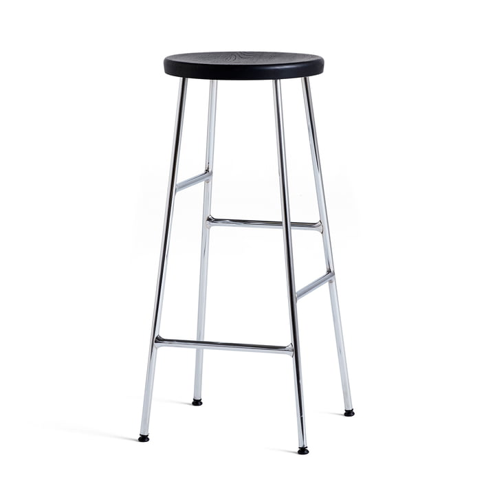 Cornet Bar Stool High H 75 cm by Hay in Black Stained Oak / Chrome