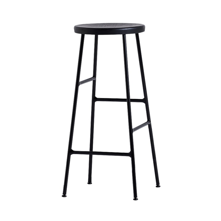 Cornet Bar Stool High H 75 cm by Hay in Black Stained Oak / Black