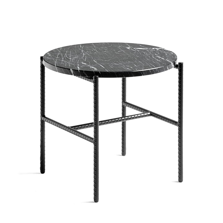 Hay - Rebar Side Table, Ø 45 x H 40.5 cm, marble / black