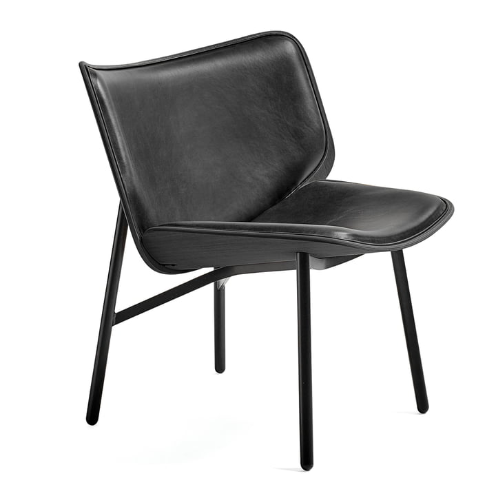 The Dapper Lounge Chair by Hay in Silk Leather SIL0842 / Stained Oak / Black