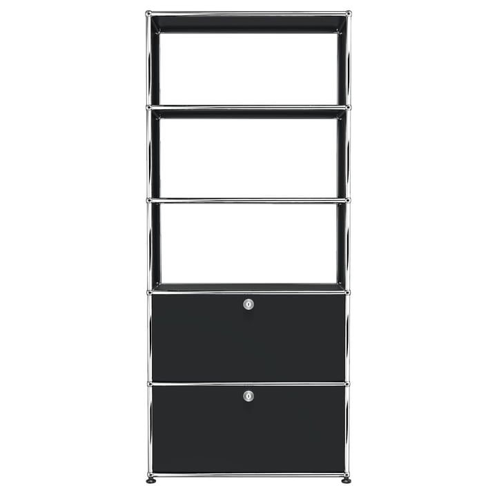 USM Haller - Shelf S with two drop-down doors, graphite black (RAL 9011)