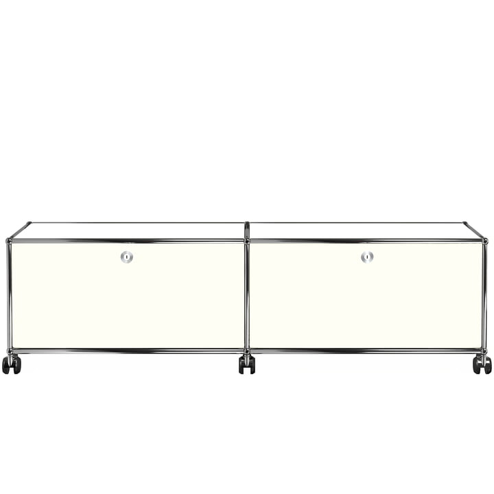 USM Haller - Low TV/Hi-Fi Stand M with Two Drop-Down Doors and Castors, pure white (RAL 9010)