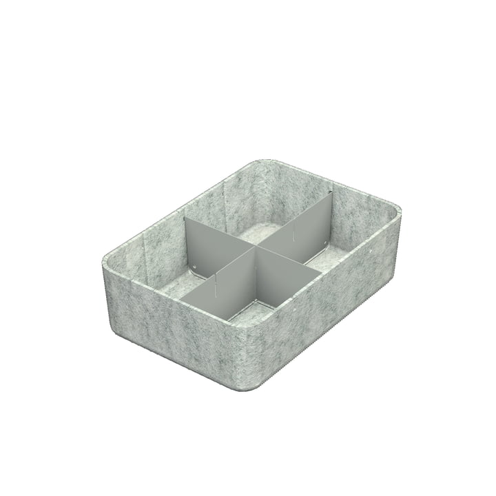 USM Haller - Inos box with divider , 22.3 x 32.2 cm, H 9.5 cm / light grey