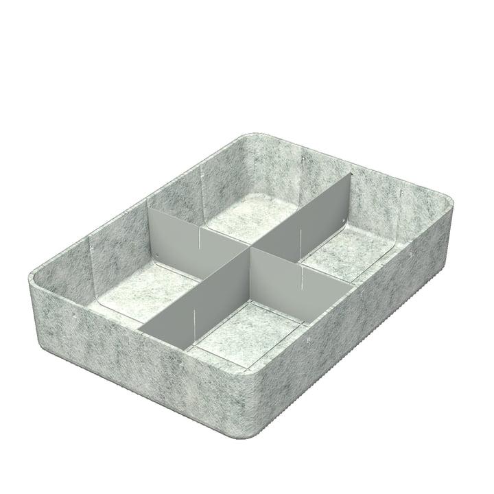 USM Haller - Inos Box with Divider , 45.3 x 32.2 cm, H 9.5 cm / light grey
