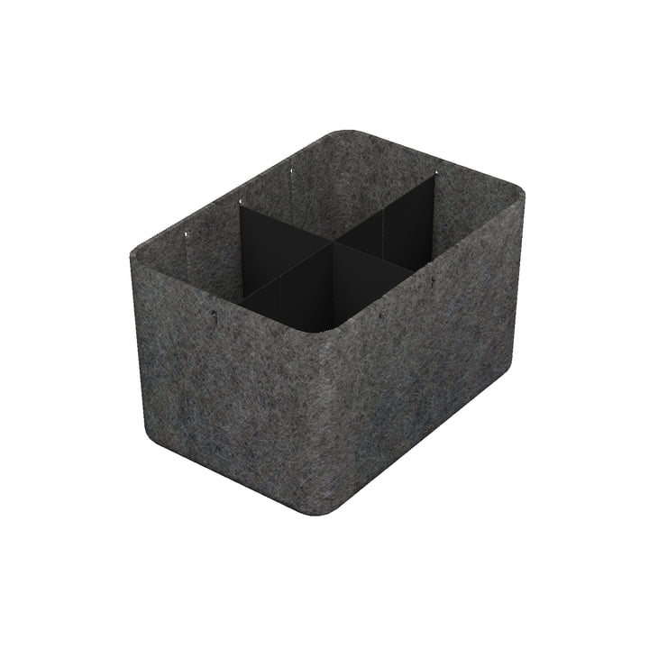 USM Haller - Inos box with divider, 22.3 x 32.2 cm, H 19 cm / anthracite