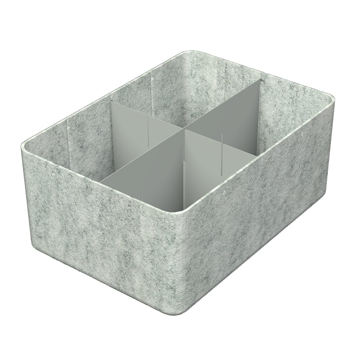USM Haller - Inos Box with Divider , 45.3 x 32.2 cm, H 19 cm / light grey