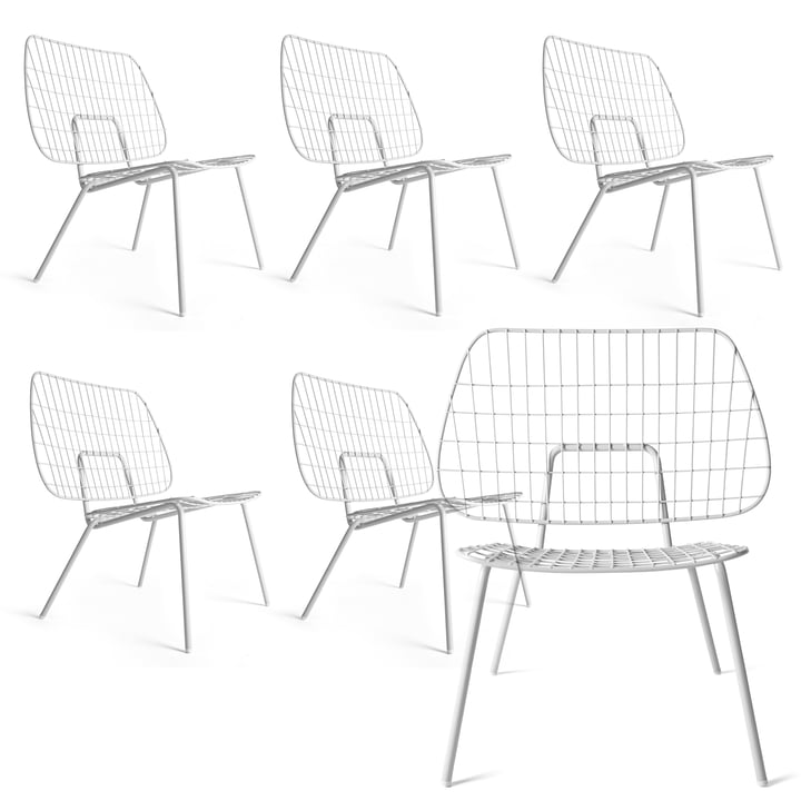5+1 Offer Set: Menu - WM String Lounge Chair, white