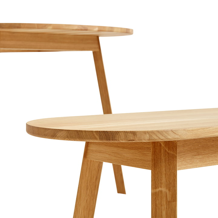 Triangle Leg Dining Table and Bench by Hay in Oiled Oak