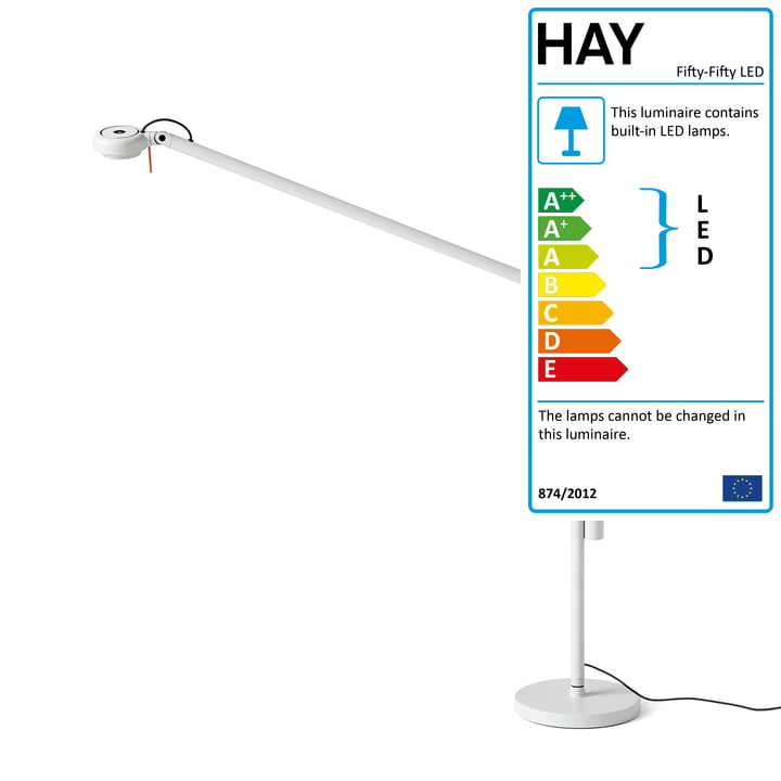 Fifty-Fifty LED table lamp with stand by Hay in light grey (RAL 7035)