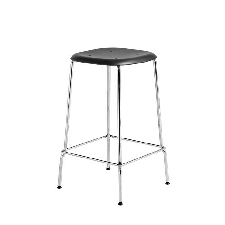 Soft Edge P30 Bar Stool H 65 in Chrome / Black