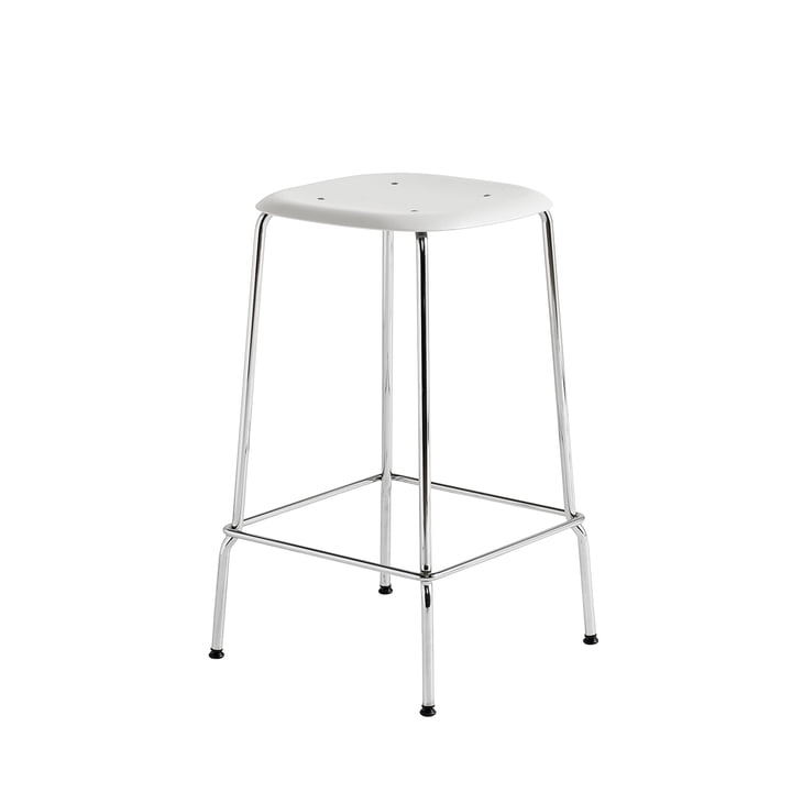 Soft Edge P30 Bar Stool H 65 in Chrome / White