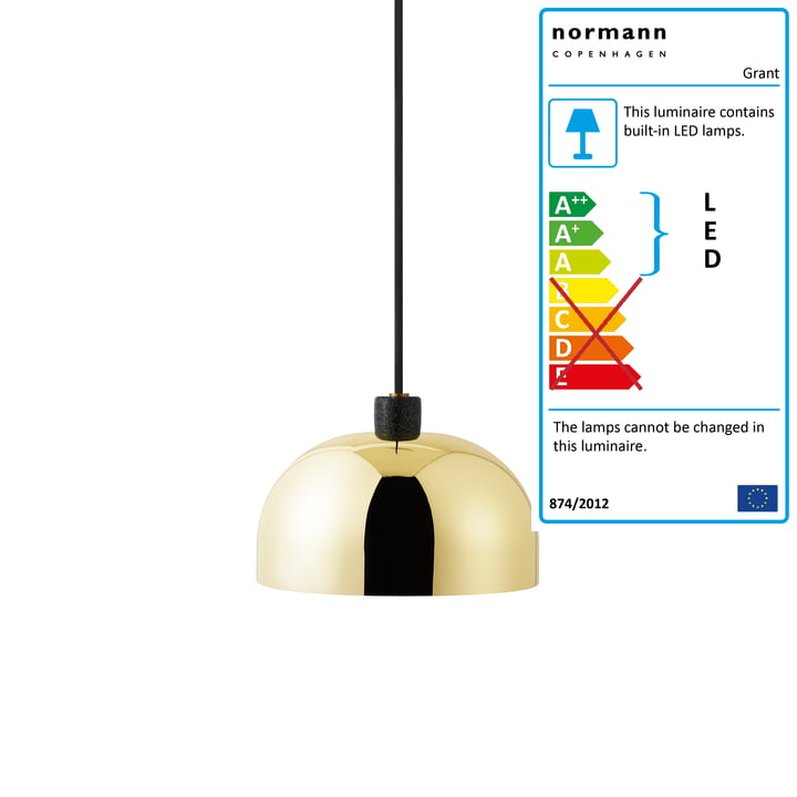 Normann Copenhangen - Grant Pendant Lamp, Ø 23 cm, brass