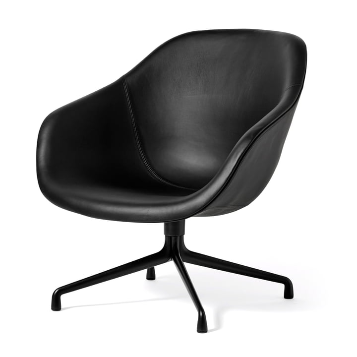 About A Lounge Chair Low / AAL 81 from Hay in aluminium black / Sierra leather black (SI1001)