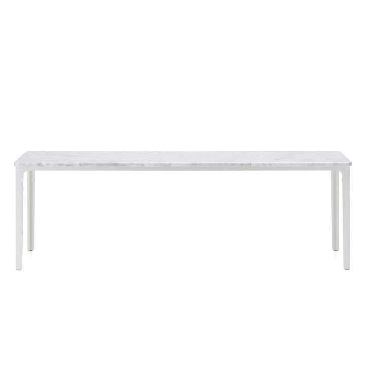 The Vitra - Plate Table, 113 x 41 cm in white powder-coated / Carrara marble