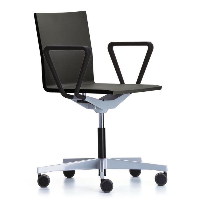 The Vitra - .04 Counter Office Swivel Chair with Armrests, Powder Coated Black / Basic Dark (Soft Brake Castors for Hard Floors)