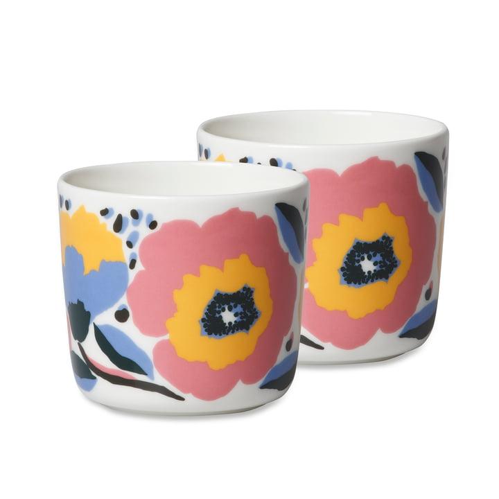 The Marimekko Oiva Rosarium cups (set of 2), 200 ml, white / red / yellow / blue