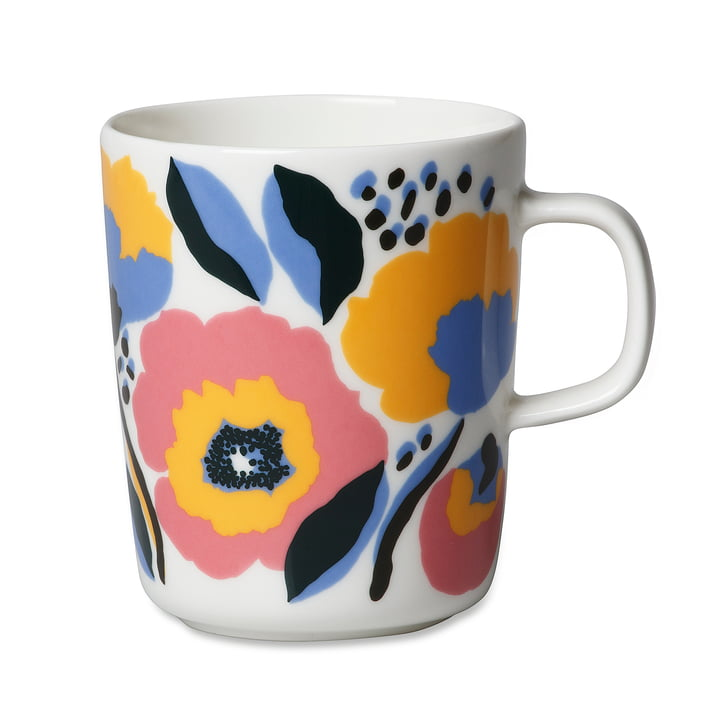 The Marimekko - Oiva Rosarium cup with handle, 250 ml in white / red / yellow / blue