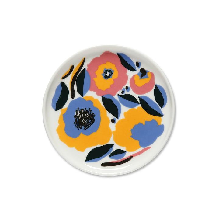 The Marimekko - Oiva Rosarium Plate, Ø 1 3. 5 cm in white / red / yellow / blue