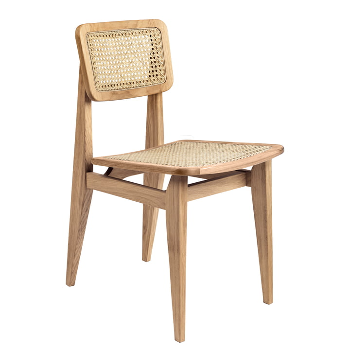 Gubi - C-Chair Dining Chair, All French cane, oiled oak