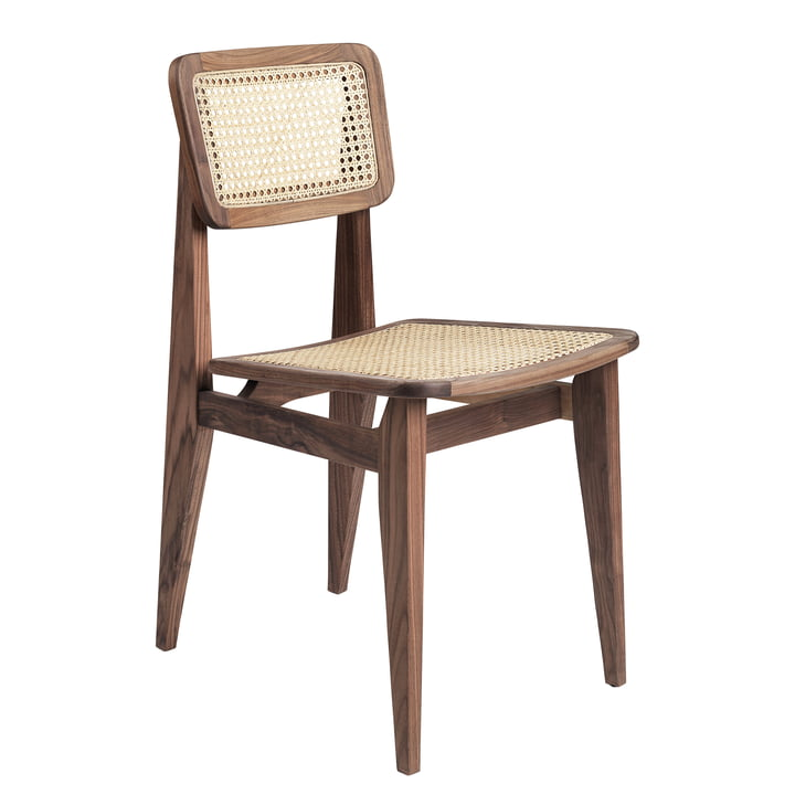 Gubi - C-Chair Dining Chair, All French cane, American oiled walnut