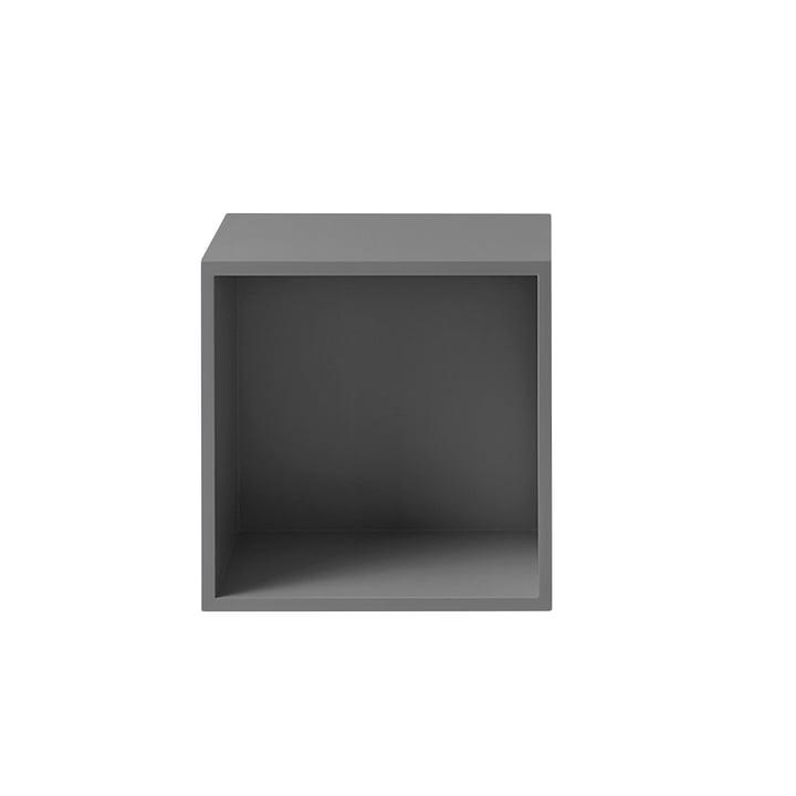 The Muuto - Stacked shelf module 2. 0 with rear panel in medium / grey