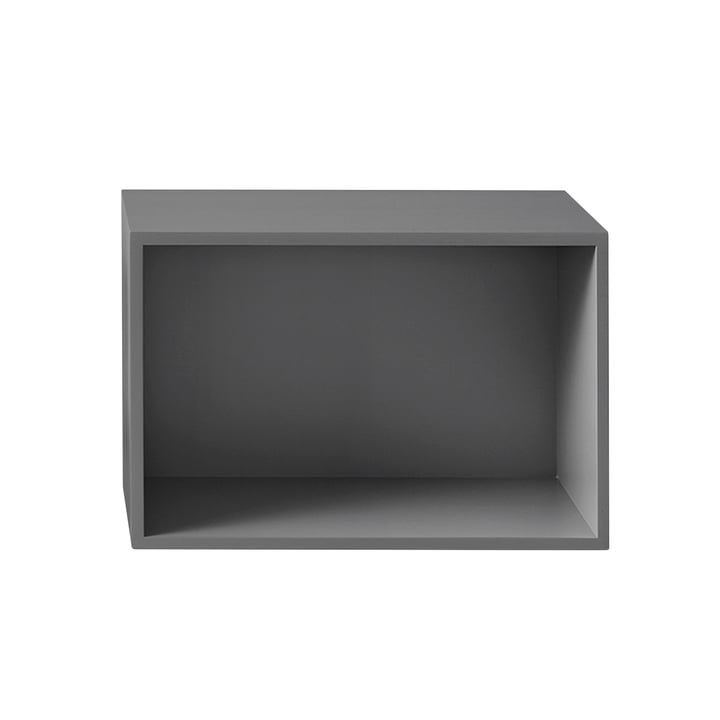 The Muuto - Stacked shelf module 2. 0 with rear panel in large / grey