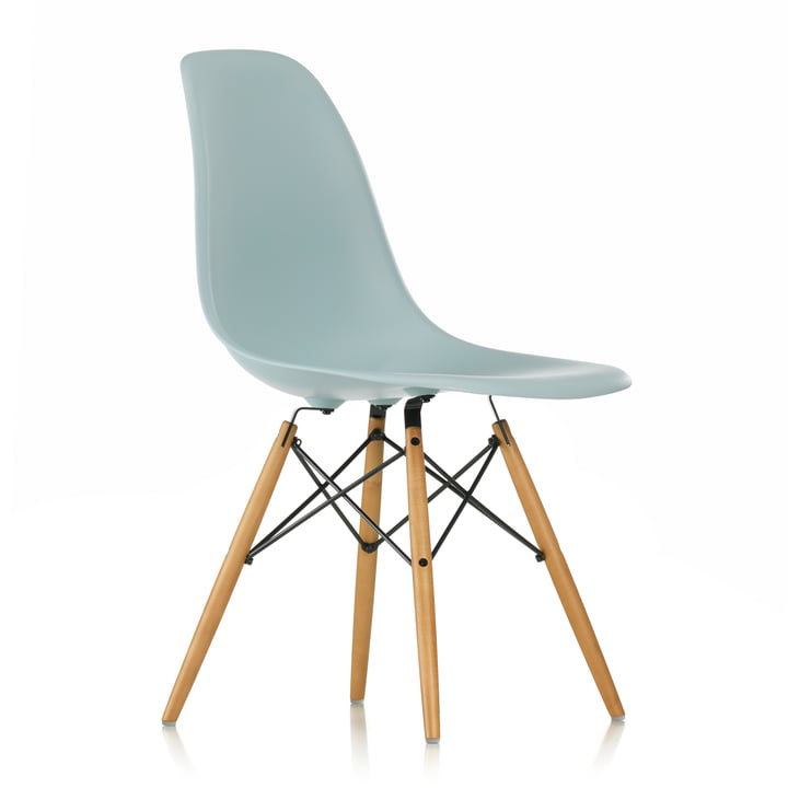 Vitra - Eames Plastic Side Chair DSW, yellowish maple / ice grey, white felt glides