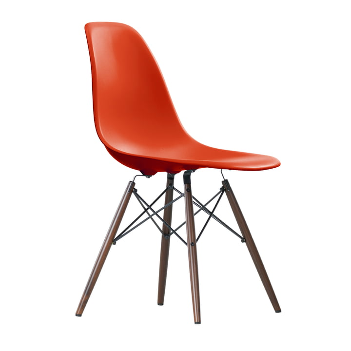 Vitra - Eames Plastic Side Chair DSW, dark maple / red (poppy red)