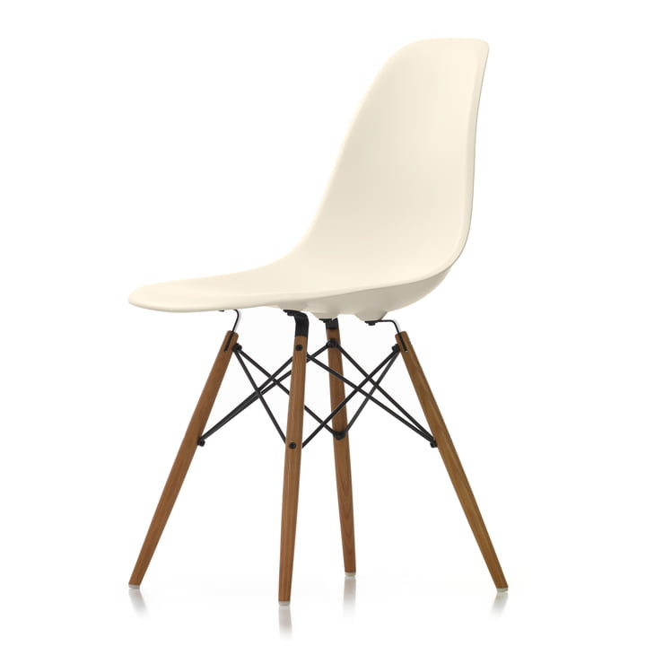 Vitra - Eames Plastic Side Chair DSW, ash-coloured ash / cream, white felt glides