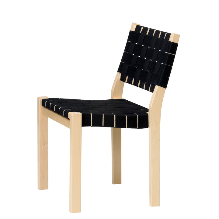Chair 611 by Artek in birch clear varnished / linen straps black