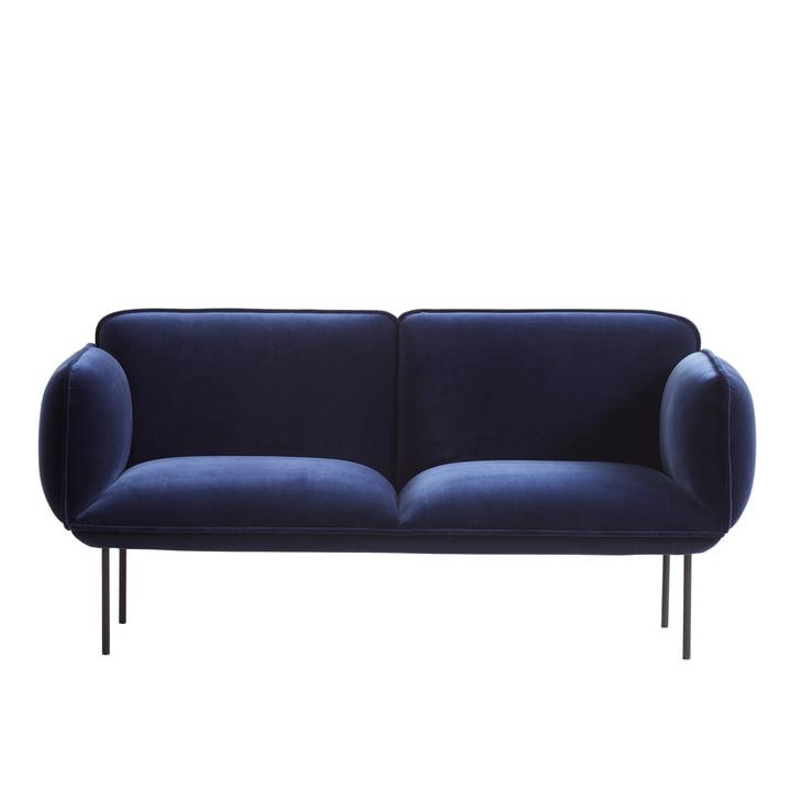 Woud - Nakki sofa 2-seater, velvet dark blue Harald 3 (182)