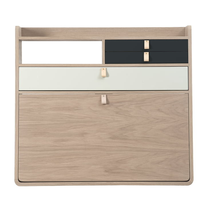 The Hartô - Gaston wall secretary 80 cm oak, anthracite grey (RAL 7016) / light grey (RAL 7035)