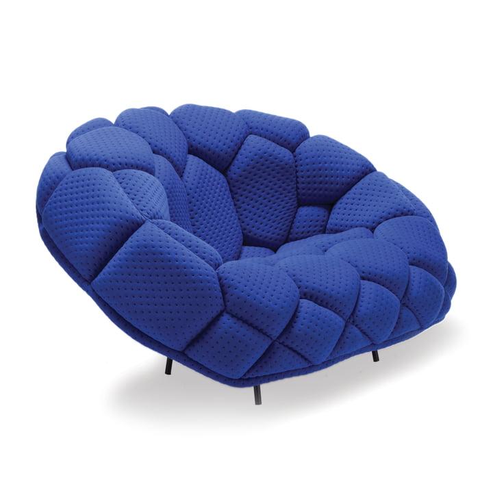Established & Sons - Quilt Armchair, graphite black (RAL 9011) / royal blue (Febrik Stitch)