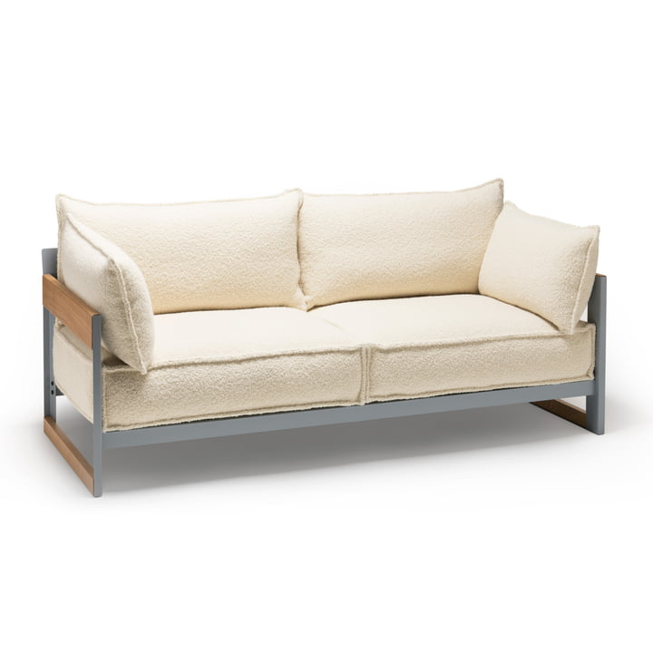 Established & Sons - Cassette Sofa, 3-seater, silver grey (RAL 7001) / oak / Pierre Frey Louison