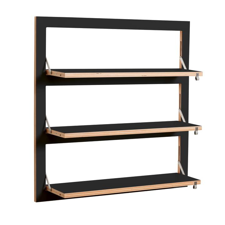 Ambivalenz - Fläpps Leaning Shelf, 80 x 80 cm, 3 shelves, black