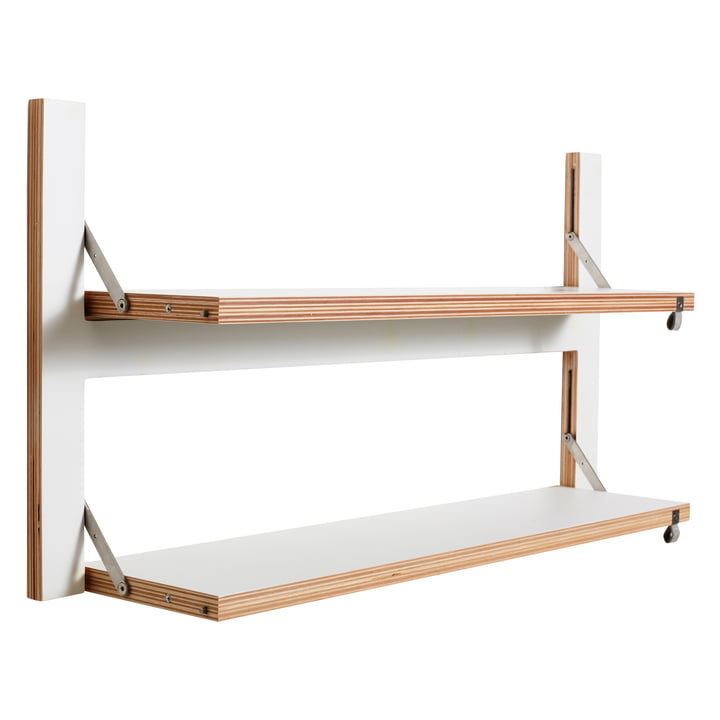 Ambivalenz - Fläpps Leaning Shelf, 80 x 40 cm, 2 shelves, white