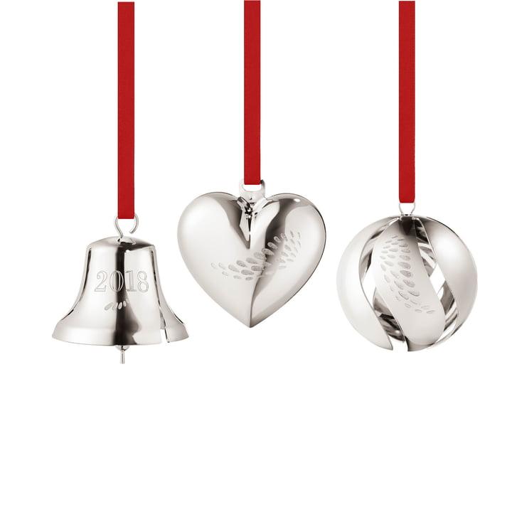 Georg Jensen - Gift Set 2018 (Heart / Bell / Ball), palladium