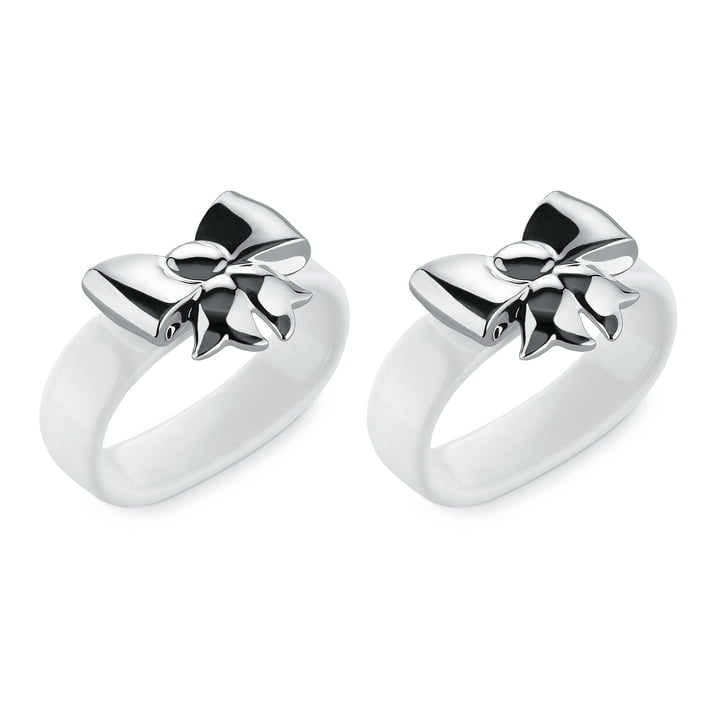 The Alessi - Napkin Ring Dressed, bow / silver (set of 2)